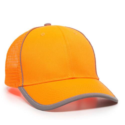 Custom Safety Mesh Back Hat w-Hi-Vis Reflective Piping