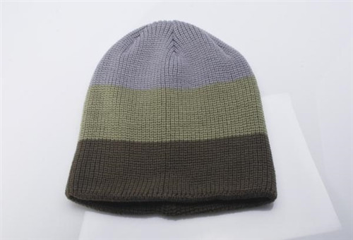 Embroidered Waffle Stripe Knitted Cap