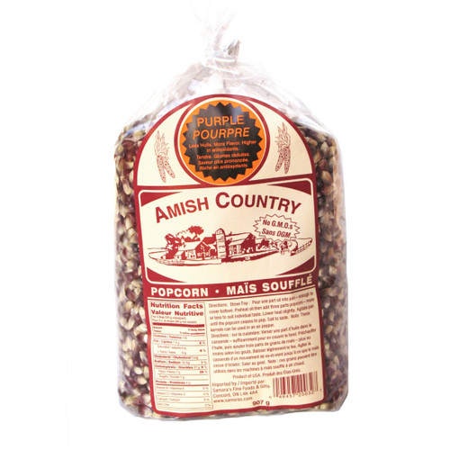 Amish Country NON-GMO Popcorn Kernels - Purple 907g