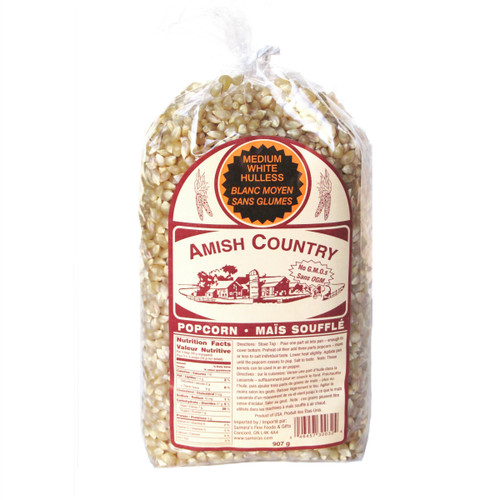 Amish Country NON-GMO Popcorn Kernels - Medium White 907g