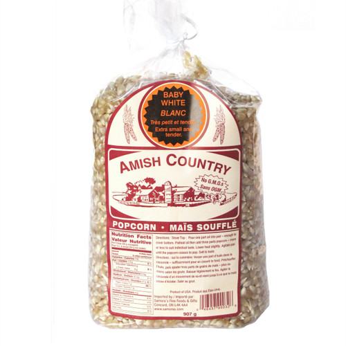 Amish Country NON-GMO Popcorn Kernels - Baby White