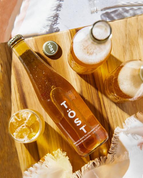 TÖST Sparkling White Tea, Ginger and Cranberry - 355 ml Single Serve.