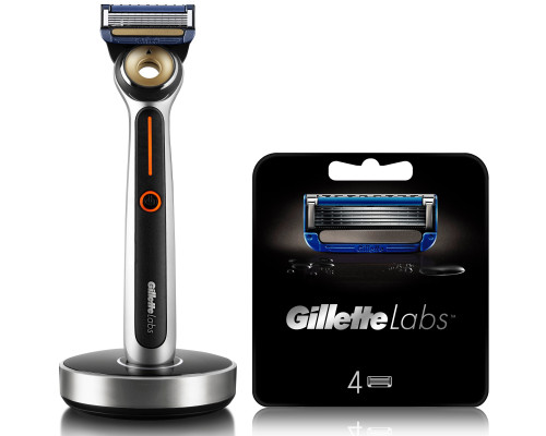 GILLETTELABS HEATED RAZOR STARTER KIT (included 2 blades) with 4 BLADES REFILLS, with Subscription