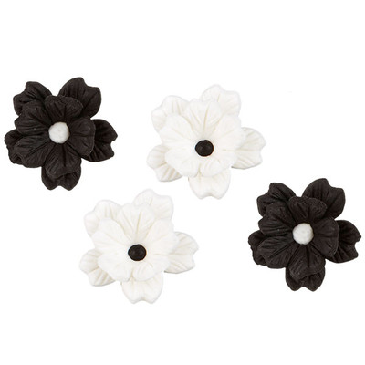 Black and White Layered Flowers Royal Icing Decorations