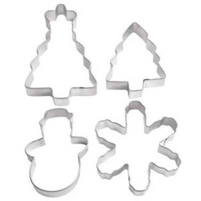 4pc Winter Holiday Scene Cookie Cutter Set