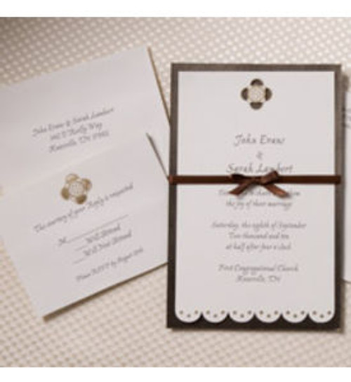 Chocolate Daisy Wedding Invitation Kits