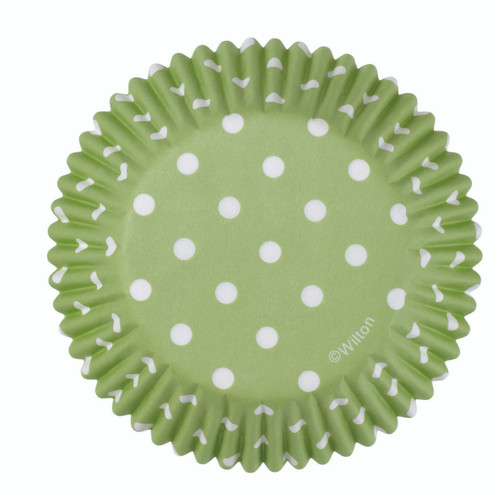 Green Dots Baking Cups