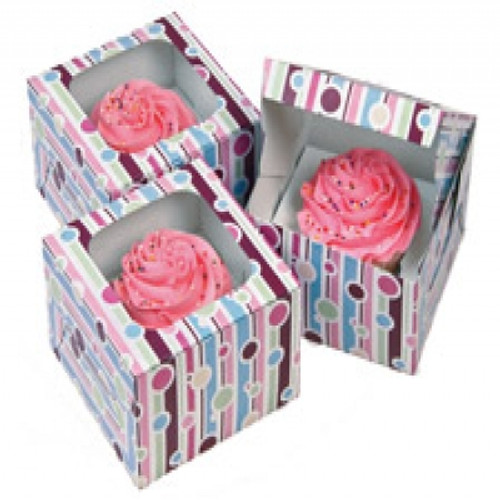 Bubble Stripes Cupcake Boxes