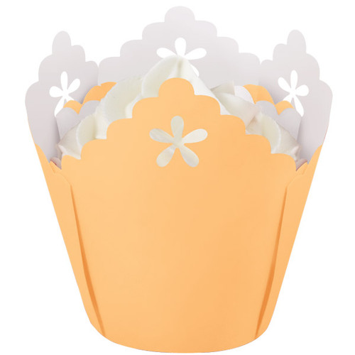 Peach Flower Pleated Baking Cups
