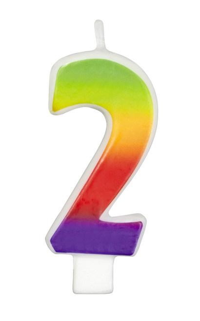 Numeral 2 - Rainbow Candle
