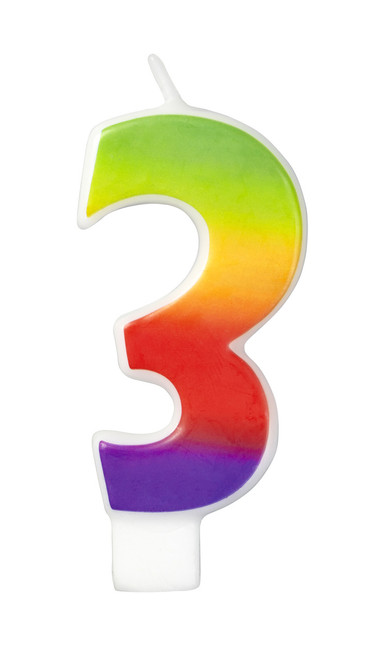 Numeral 3 - Rainbow Candle