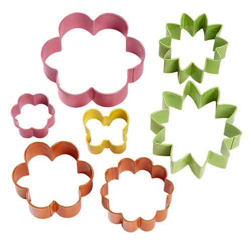 Coloured Metal Garden Cookie Cutter 7-Piece Set