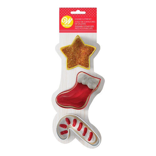 Star, Stocking, Candy Cane 3pc Cookie Cutter Set
