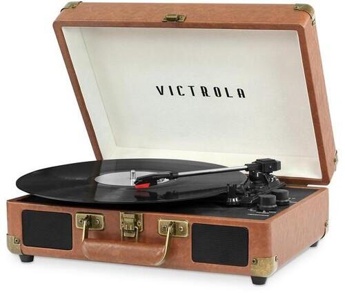 Victrola VSC-550-LBR Vintage Portable Suitcase Turntable (Brown) [New Turntable]
