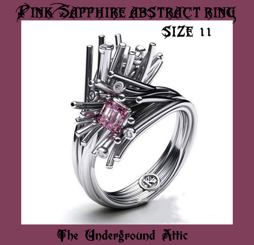 PINK SAPPHIRE ABSTRACT RING SIZE 11