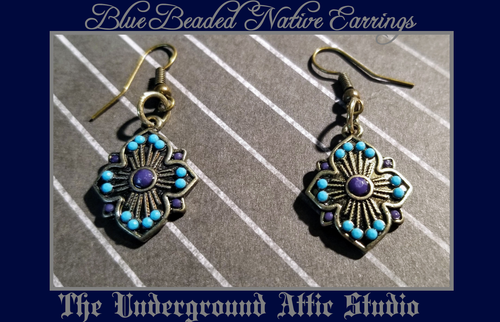 BLUE NATIVE INSPIRED BEADED EARRINGS