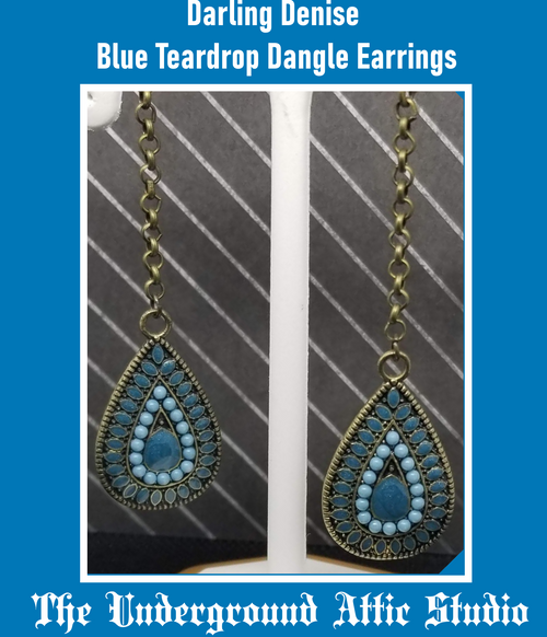 DARLING DENISE BLUE TEARDROP DANGLE EARRINGS