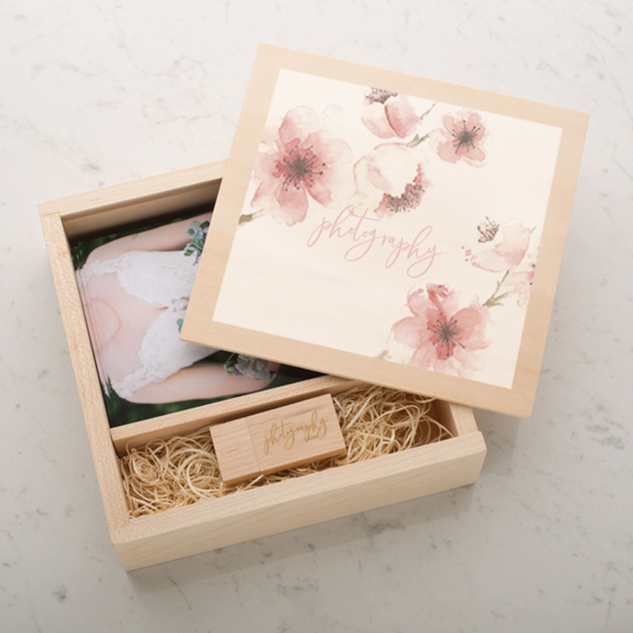 Jumbo Size Photo Usb Flash Drive Wooden Gift Boxes For