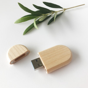 oval maple wooden usb flash drive