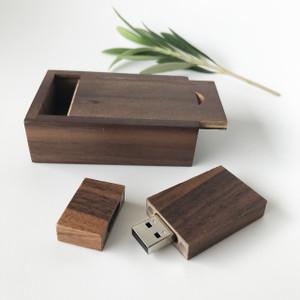 walnut usb flash drive with small box with sliding lid