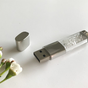 silver and crystal usb flash drive