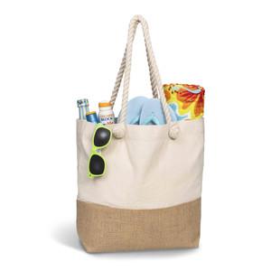natural cotton & hessian jute beach bag