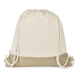 cotton & jute double drawstring bag