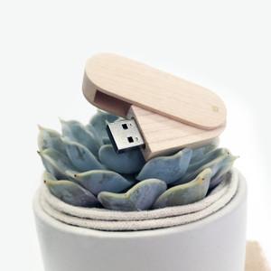 light wood maple swivel flash drive thumb drive