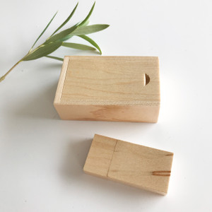 maple wood usb flash drive  with box with sliding lid