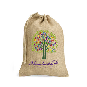 jute hessian natural drawstring bag with custom logo branding