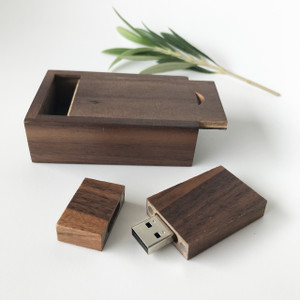 walnut usb flash drive with small box with sliding lid
