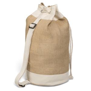 natural cotton & jute rucksack with shoulder strap