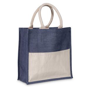 navy blue jute & cotton shopper tote bag with handles