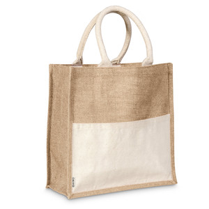 natural jute & cotton shopper tote bag