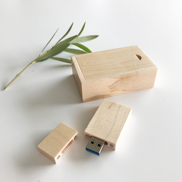 maple ash wood usb flash drive with box packaging