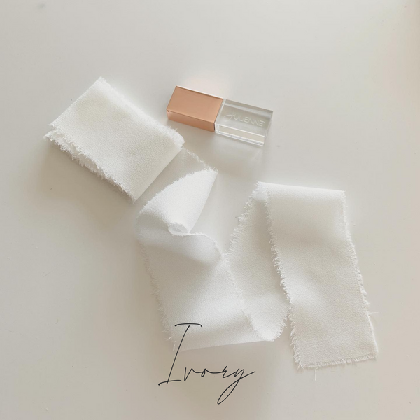 ivory frayed ribbon for packaging