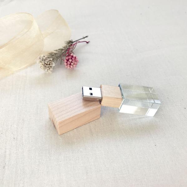 light wood crystal flash drive