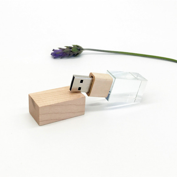 ash wood crystal usb flash drive
