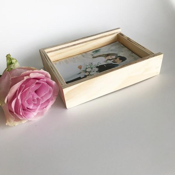 wooden keepsake box for photographs