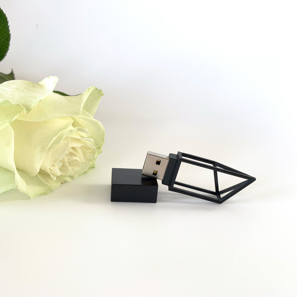 matt black usb flash drive with geometric shape