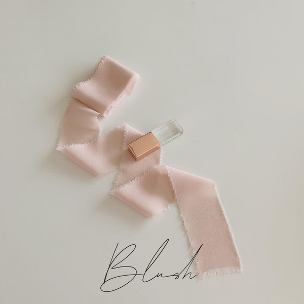 blush pink frayed ribbon for wedding packaging