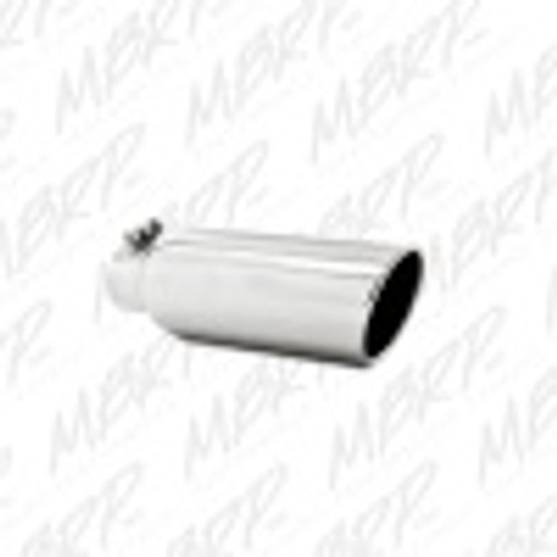 MBRP Universal Tip 4in OD 2.5in Inlet 12in Length Angled Cut Rolled End