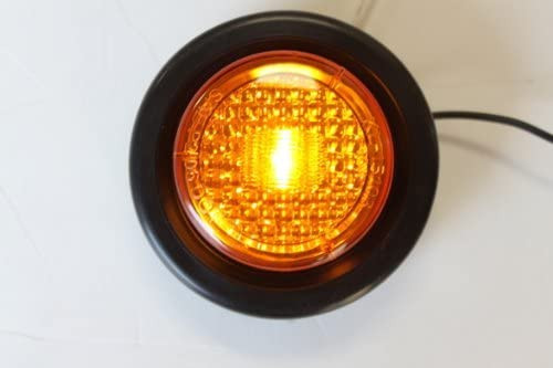 """2 Amber LED 2"""" Round Clearance/Side Marker Light Kits with Light and Grommet"""