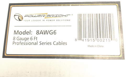 Power Bright 8-AWG6 8 AWG Gauge 6-Foot Professional Series Inverter Cables