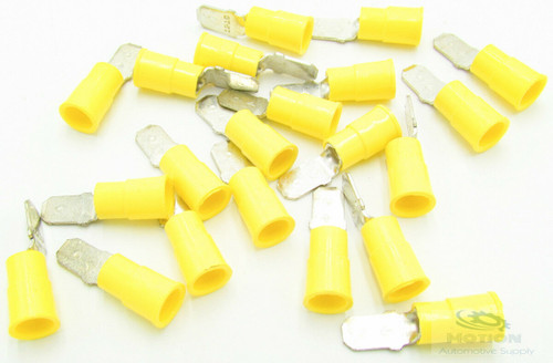 """50 3M 1/4"""" Male Quick Disconnect 12-10 AWG Yellow Vinyl Insulated 73M-250-32-P"""