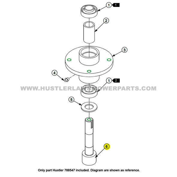 Parts lookup Hustler 788547 Spindle Shaft OEM diagram