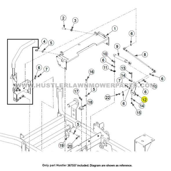Parts lookup Hustler 367557 BDP-10 Pump Arm OEM diagram