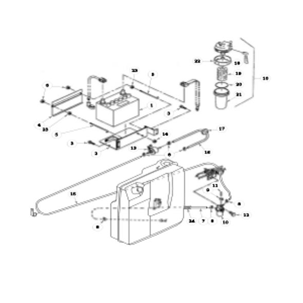 Parts lookup for HUSTLER 3500 / 3700 AWD Front Mount Diesel 928705 - Fuel Lines and Battery