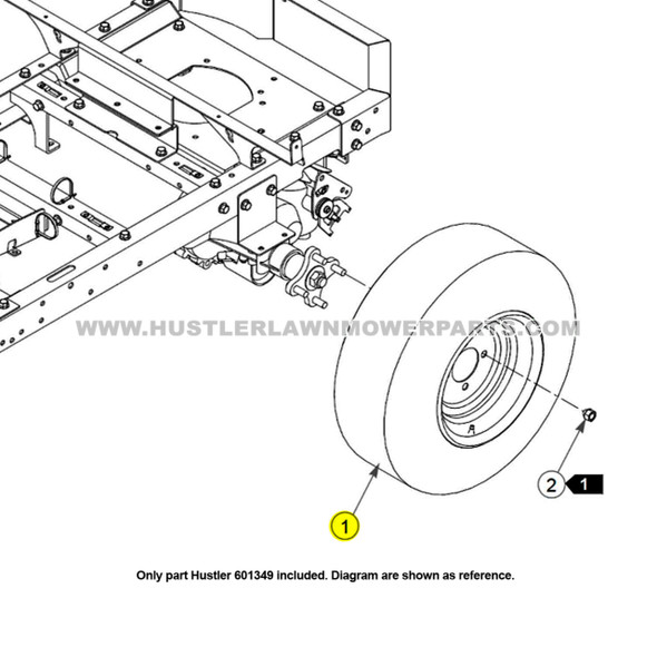 Parts lookup Hustler 601349 Tire and Wheel 20X12.00-10 OEM diagram