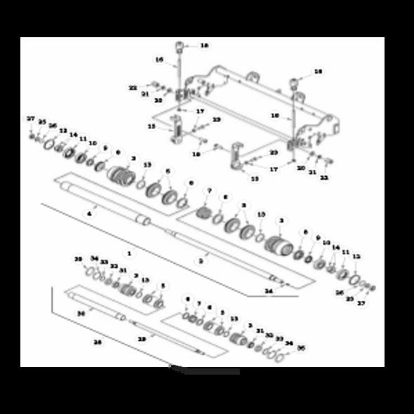 """Parts lookup for HUSTLER 7500 / 7700 929174 - Front Roller - 5"""" Reels"""